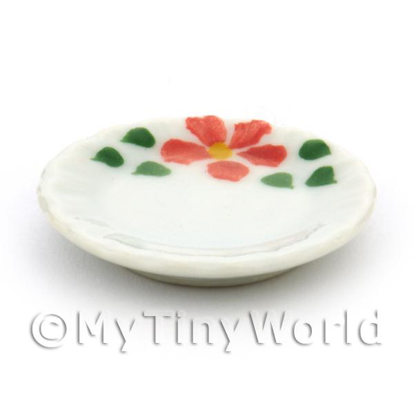 Dolls House Miniature Hibiscus Design Ceramic 25mm Plate