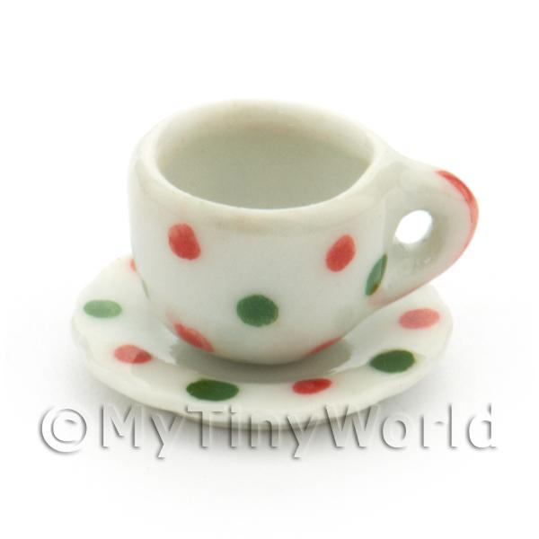Dolls House Miniature - Dolls House Miniature Ceramic Cup And Saucer With Dotty Design