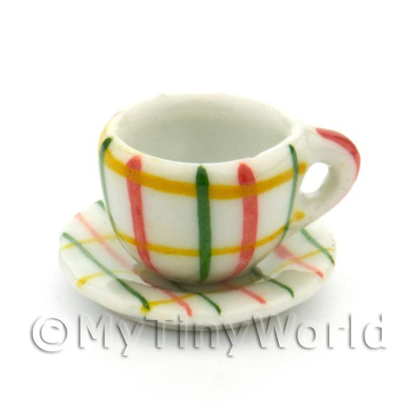 Dolls House Miniature Crosshatch Pattern Ceramic Cup And Saucer