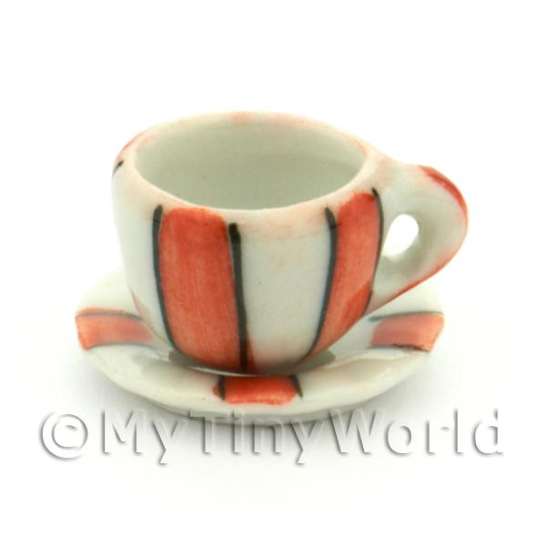 Dolls House Miniature  | Miniature Ceramic Cup And Saucer With Orange Stripes