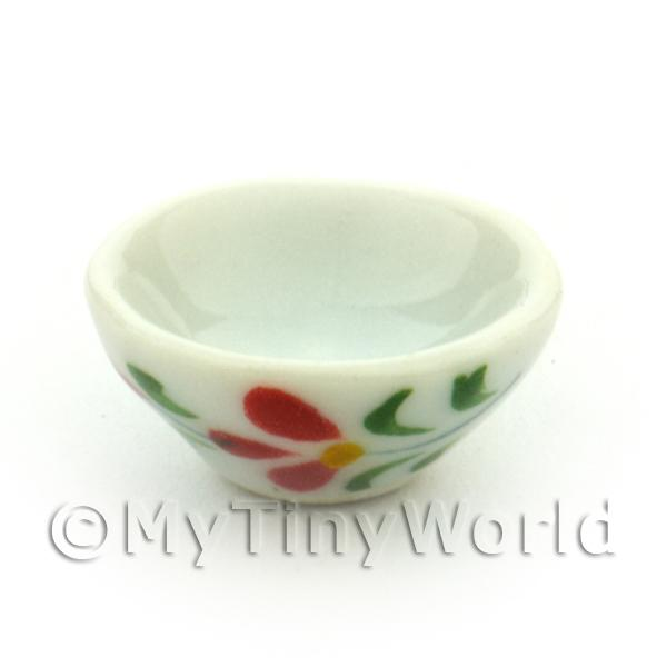 Dolls House Miniatures  | Dolls House Miniature Red Orchid Design 16mm Ceramic Bowl