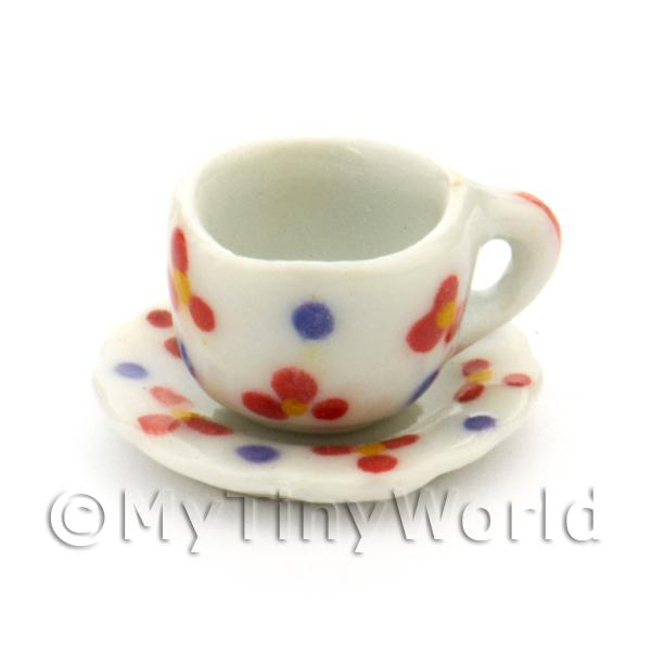 Dolls House Miniature  | Dolls House Miniature Flower Design Ceramic Cup And Saucer
