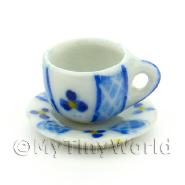 Dolls House Miniature Blue Lace Design Ceramic Cup And Saucer