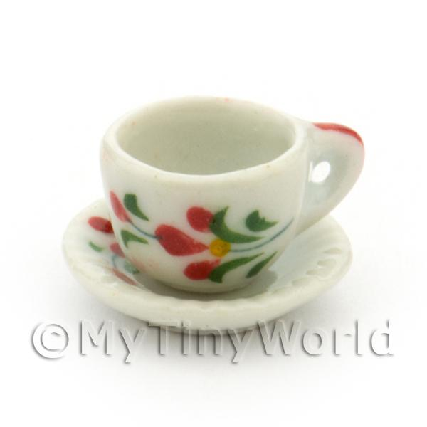 Dolls House Miniature Red Orchid Design Ceramic Cup And Saucer