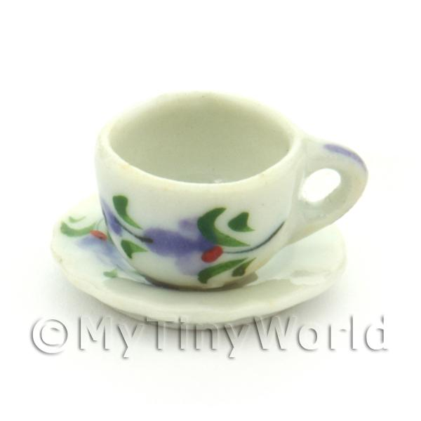 Dolls House Miniature  | Dolls House Miniature Purple Orchid Design Ceramic Cup And Saucer