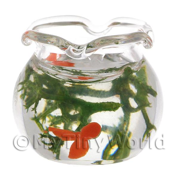 Dolls House Miniature Gold Fish In Wavy Top Glass Bowl