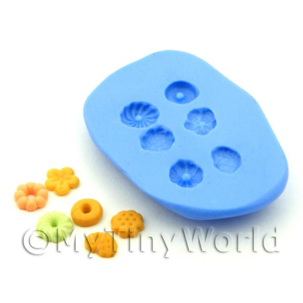 Dolls House Miniature 6 Piece Biscuit Silicone Mould