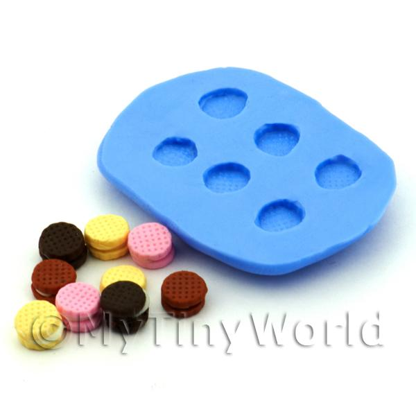Dolls House Miniature 6 Piece Round Biscuits Silicone Mould