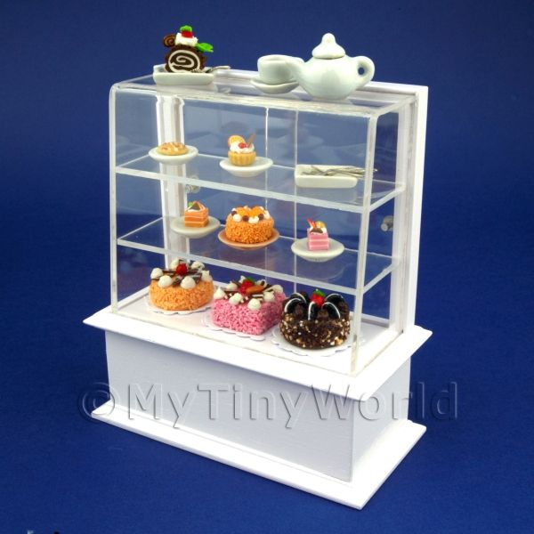 Dolls House Miniature White Themed Cafe Display