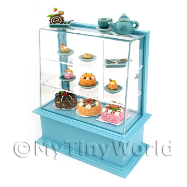 Dolls House Miniature  | Dolls House Miniature Blue Themed Cafe Display