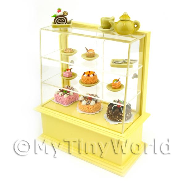 Dolls House Miniature  | Dolls House Miniature Yellow Themed Cafe Display