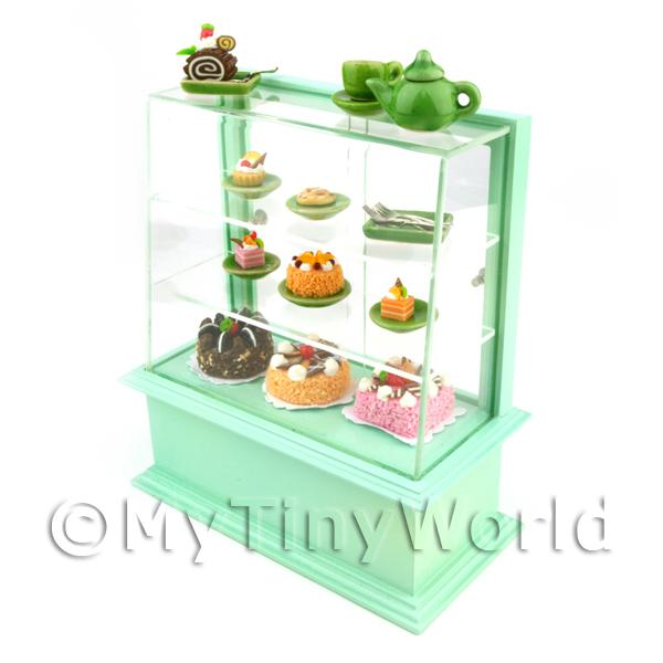 Dolls House Miniature  | Dolls House Miniature Pastel Green Themed Cafe Display