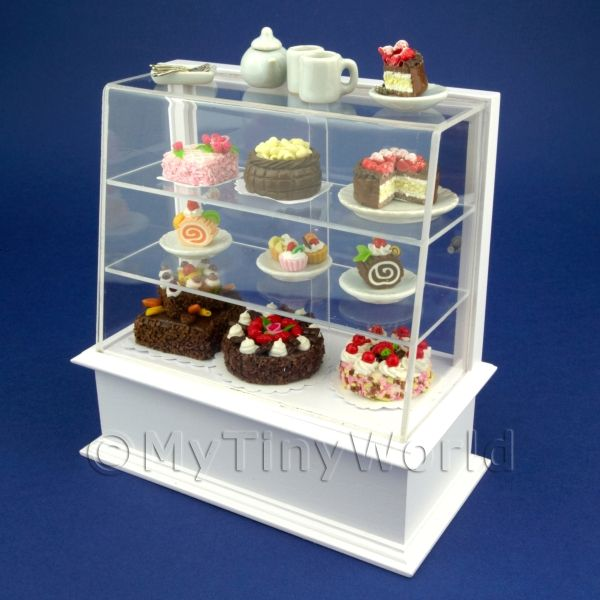 Dolls House Miniatures  | Dolls House Miniature Filled White Patisserie Display