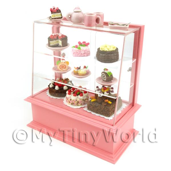 Dolls House Miniature Filled Pink Patisserie Display