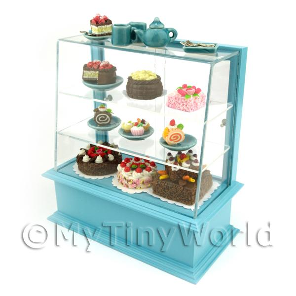 Dolls House Miniature  | Dolls House Miniature Filled Blue Patisserie Display