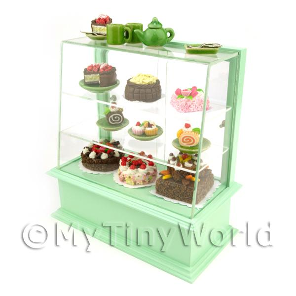 Dolls House Miniature  | Dolls House Miniature Filled Pastel Green Patisserie Display