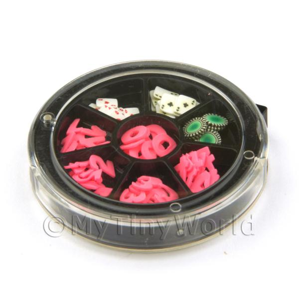 Dolls House Miniature  | 80 Assorted Nail Art Numbers, Cards And Poker Chip Slices In a Wheel