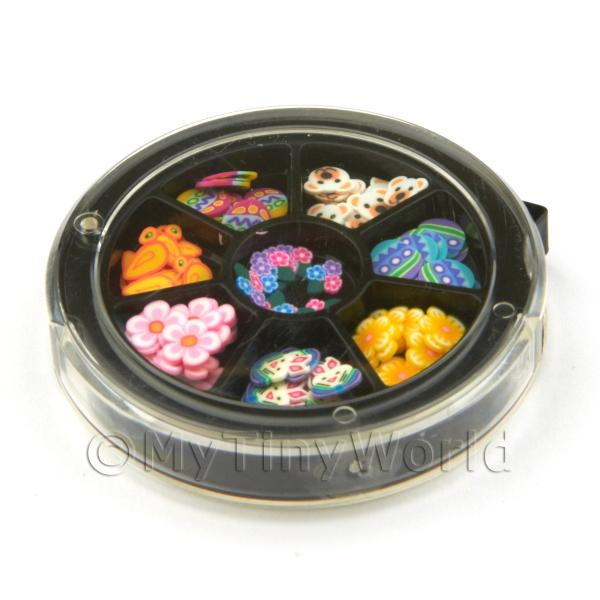 Dolls House Miniature  | 80 Assorted Nail Art Easter Themed Slices In a Wheel