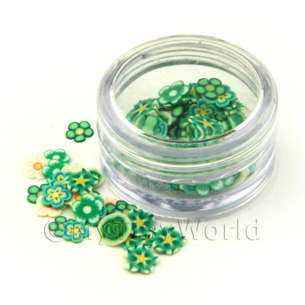 Dolls House Miniature  | Pot With 120 Mixed Green Flower Nail Art Slices
