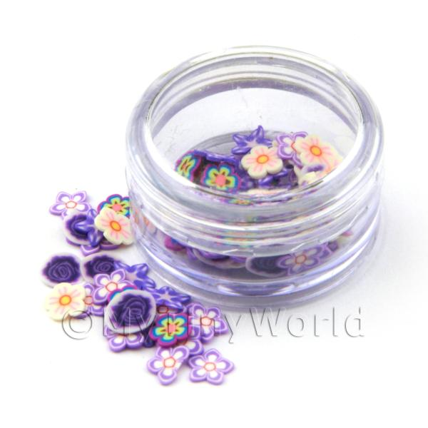 Dolls House Miniature  | Pot With 120 Mixed Indigo Themed Flower Nail Art Slices