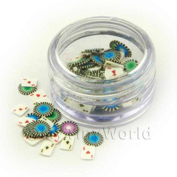 Dolls House Miniature  | Pot With 120 Mixed Poker Pack Themed Nail Art Slices