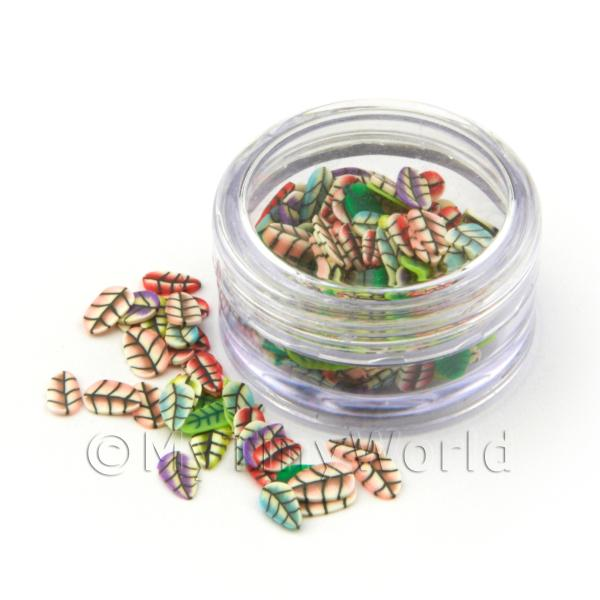 Dolls House Miniature  | Leaf Themed Nail Art Pot Containing 120 Mixed Slices