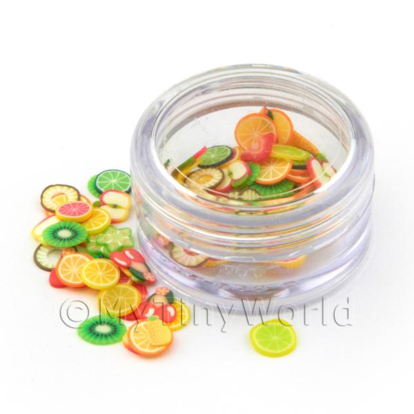 Dolls House Miniature  | Mixed Fruit Nail Art Pot Containing 120 Slices