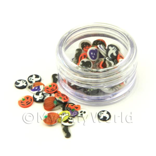Dolls House Miniature  | Halloween Themed Nail Art Pot Containing 120 Slices