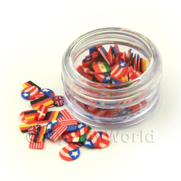 Dolls House Miniature  | Flag Themed Nail Art Pot Containing 120 Slices