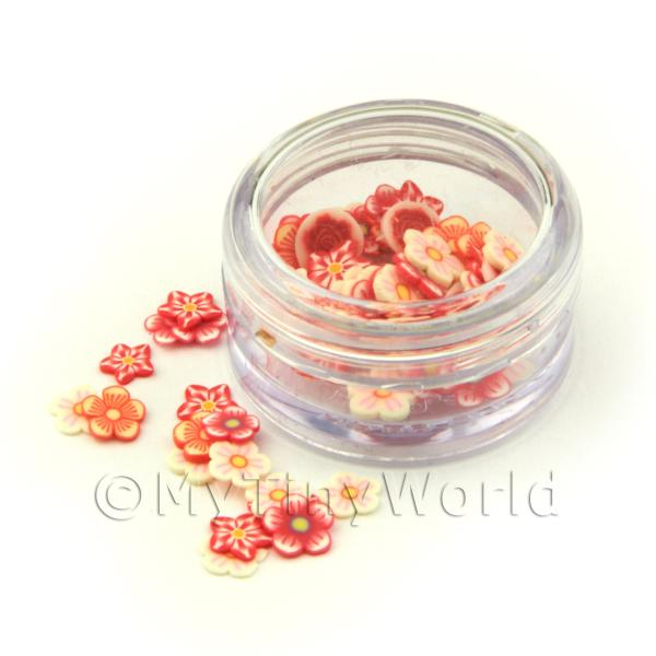 Mixed Red Flower Nail Art Pot Containing 120 Slices
