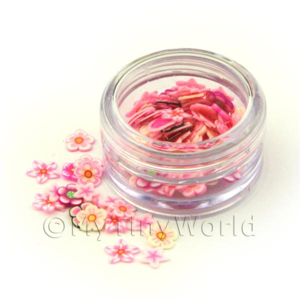 Mixed Pink Flower Nail Art Pot Containing 120 Slices