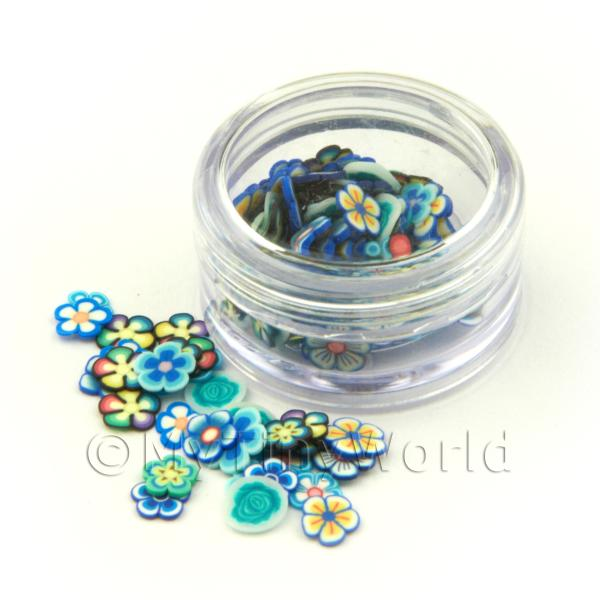 Mixed Blue Themed Flower Nail Art Pot Containing 120 Slices