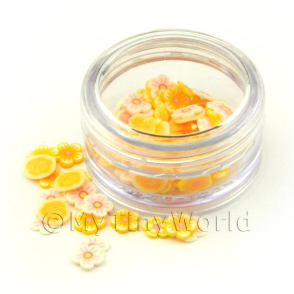 Dolls House Miniature  | Mixed Yellow Themed Flower Nail Art Pot Containing 120 Slices