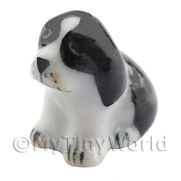 Dolls House Miniature Ceramic Black Dog Sitting