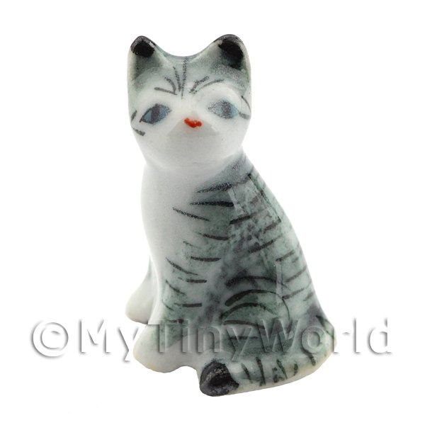 Dolls House Miniature Ceramic Light Grey and White Tabby Cat Sitting