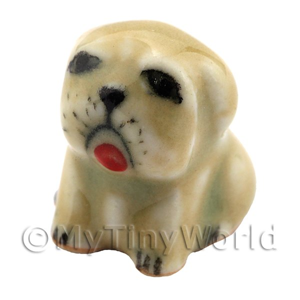 Dolls House Miniature Ceramic Brown Pug Dog Sitting