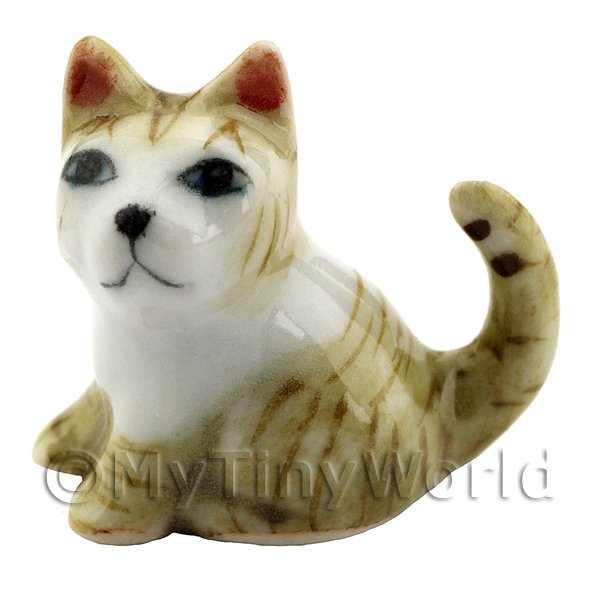 Dolls House Miniature Ceramic Brown and White Tabby Cat Sitting