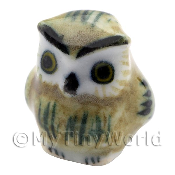 Dolls House Miniature Ceramic Dark Brown Owl