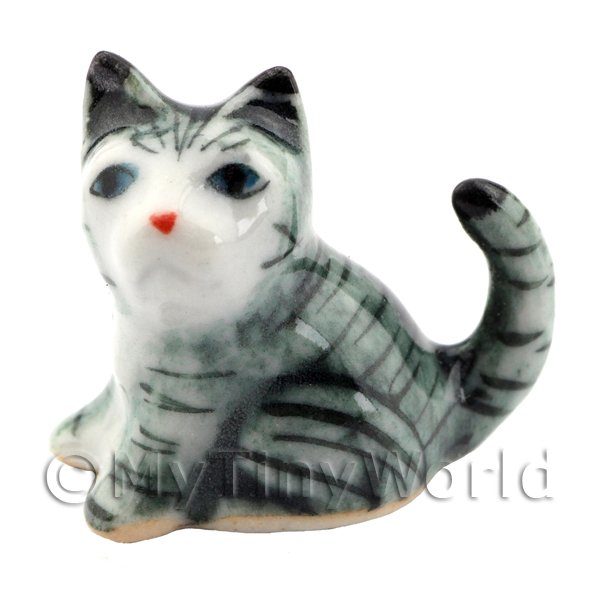 Dolls House Miniature Small Ceramic Grey and White Tabby Cat Sitting