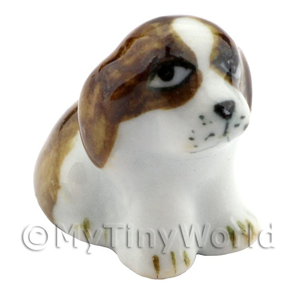 Dolls House Miniature Ceramic Brown Dog Sitting (2)