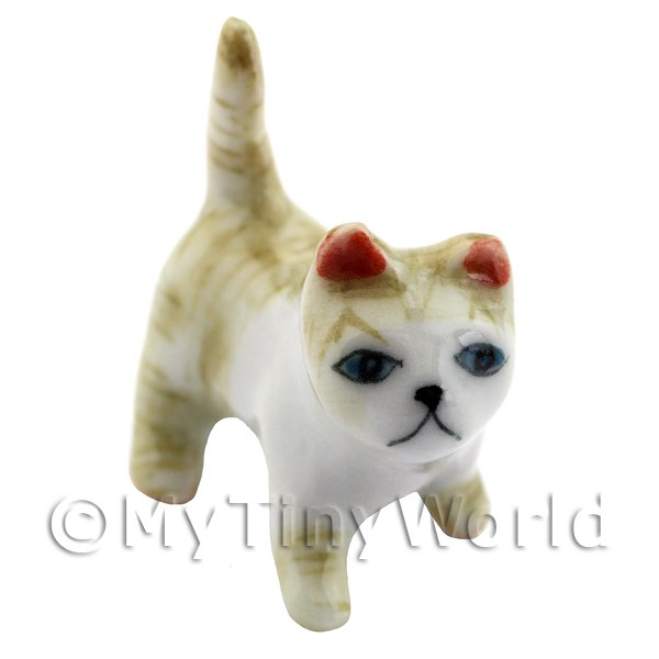 Dolls House Miniature Ceramic Brown and White Tabby Cat Standing