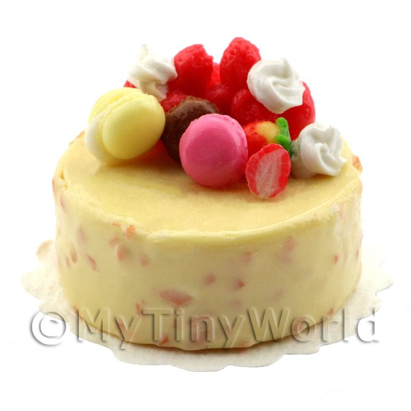 Dolls House Miniature Handmade Lemon Iced Fruit Cake With Fruit Decoration