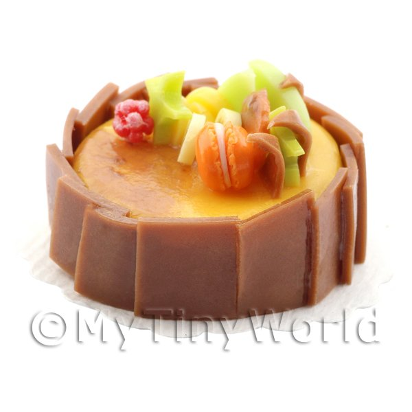 Dolls House Miniature Handmade Caramel Cake With Chocolate Squares