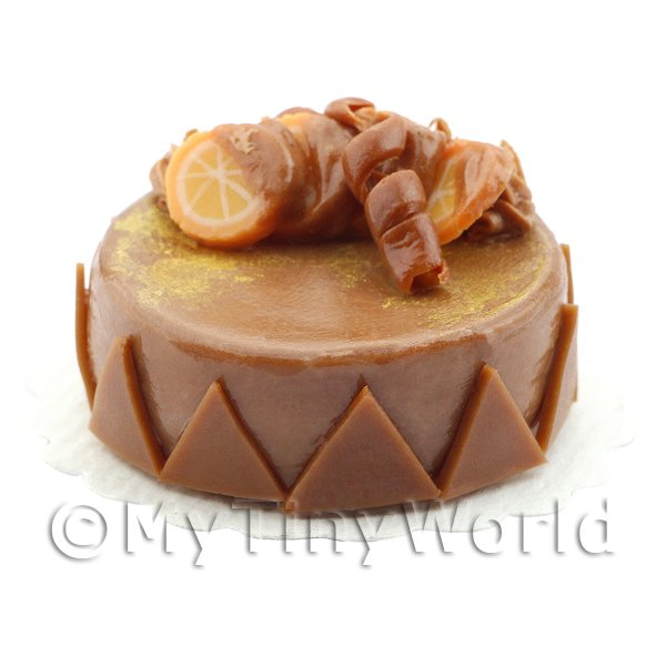Dolls House Miniature Handmade Chocolate Orange Cake