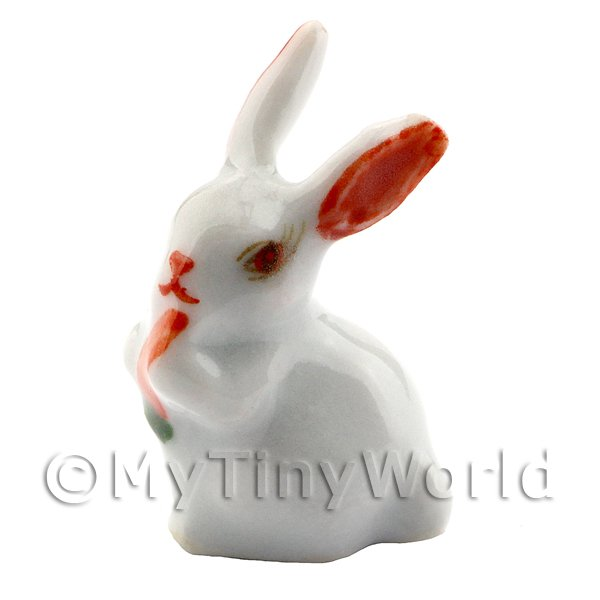Dolls House Miniature Ceramic Brilliant White Rabbit