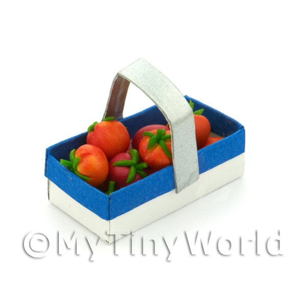 Handmade Dolls House Miniature Punnet With 10 Tomatoes