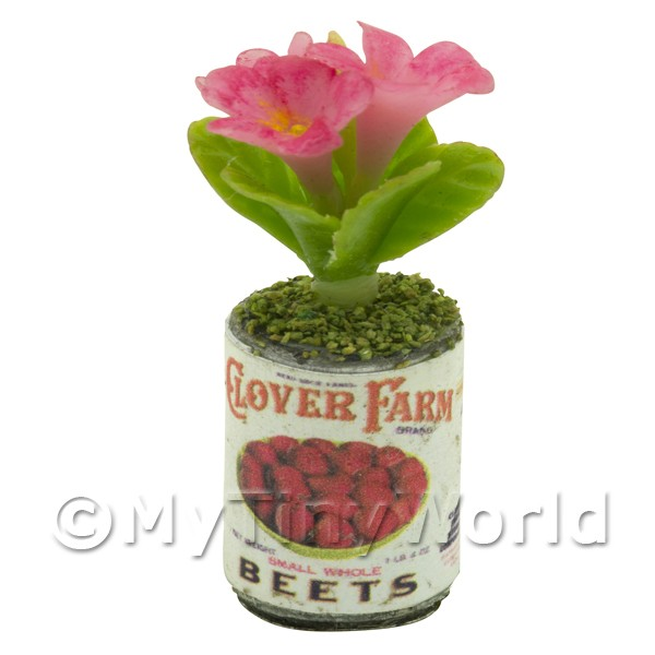 Dolls House Miniature  | Dolls House Miniature 3 Pink Flowers in Food Can
