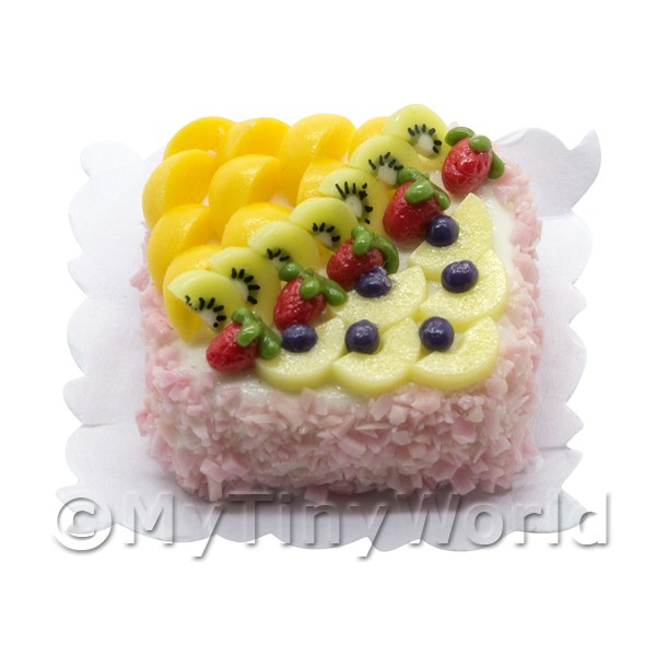 Square Fruit Cake Decoration : Dolls House Miniature Cakes and Slices - Dolls House ...