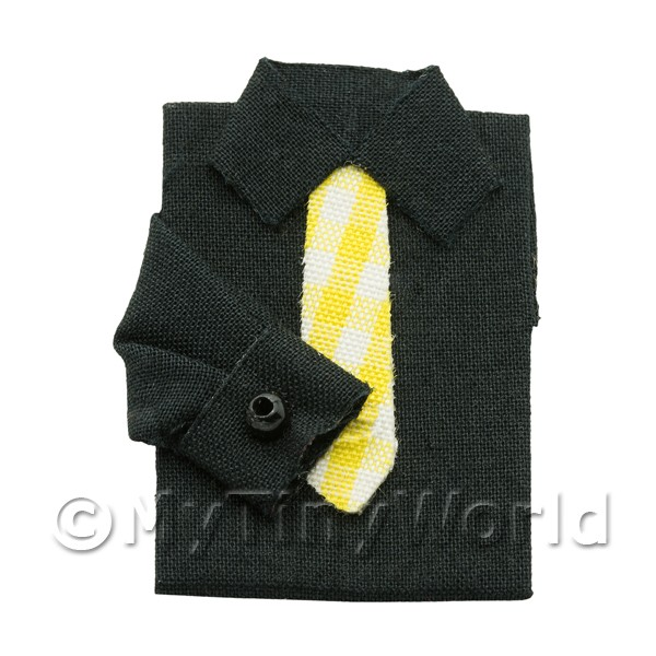 Dolls House Miniature Black Shirt With Tie