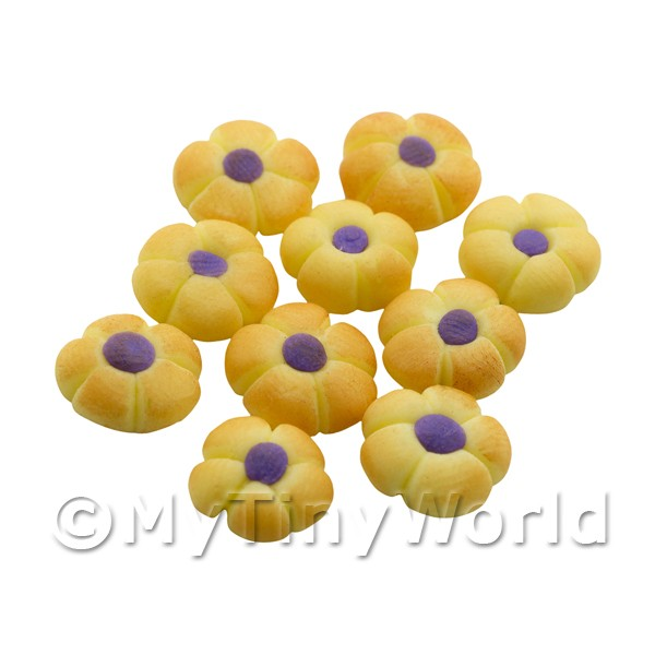Dolls House Miniature Purple Iced Flower Biscuit